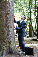 Business man stroking tree bark looking up