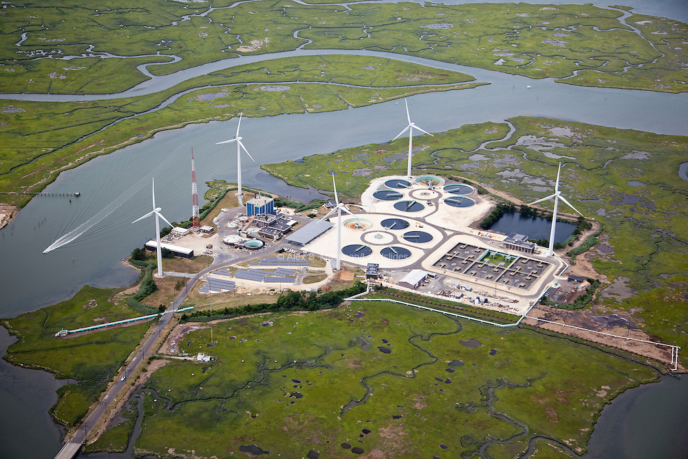 Jersey-Atlantic Wind Farm located in coastal Atlantic County, NJ; between solar and wind power, the farm produces about 19 million kilowatt-hours of electricity per year; this energy is put towards powering both the waste water treatment plant (run by the Atlantic County Utilities Authority), and also contributes to the region's electrical grid, powering up to 2,000 homes.