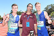 Jun 30, 2019; Stanford, CA, USA; Filip Ingebrigtsen (right) and brother Jakob Ingebrigtsen, left, of Norway pose with David Glassman (center) after  placing third and fourth in the Bowerman  Mile in 3:51.28 and 3:51.30 during the 45th Prefontaine Classic at Cobb Track & Angell Field.
