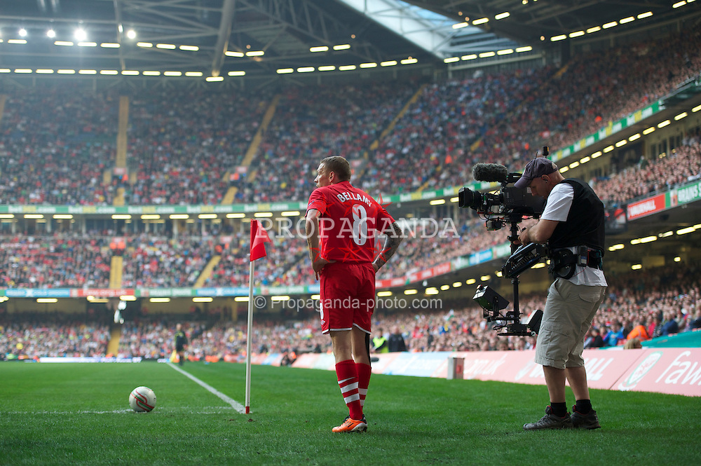 CARDIFF, WALES - Saturday, March 26, 2011: Wales' Craig Bellamy prepares to take a corner against England during the UEFA Euro 2012 qualifying Group G match at the Millennium Stadium. (Photo by Chris Brunskill/Propaganda)