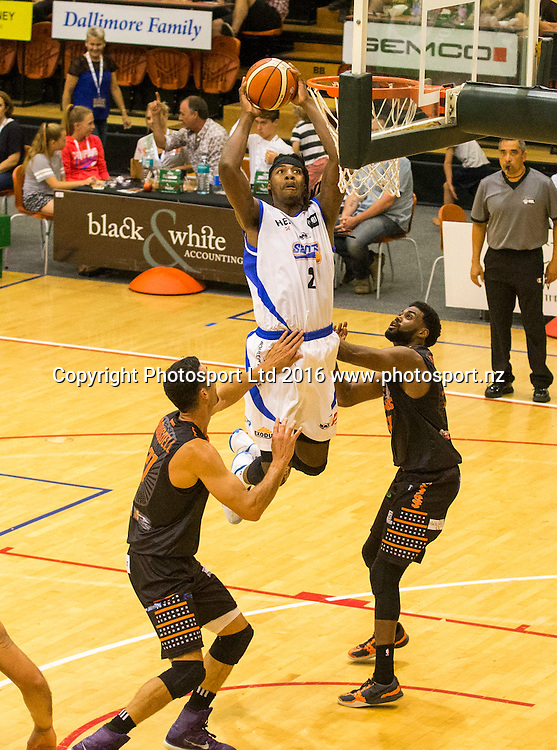 Saint's Charles Jackson puts up two points. Hawkes Bay Hawks v Wellington Saints,NBL basketball, PG Arena, Napier, New Zealand. Sunday, 13 March 2016. Copyright photo: John Cowpland / www.photosport.nz