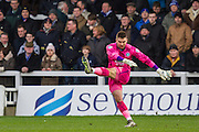 Matt Ingram (goalkeeper) of Wycombe Wanderers clears the ball during the Sky Bet League 2 match between Hartlepool United and Wycombe Wanderers at Victoria Park, Hartlepool, England on 16 January 2016. Photo by George Ledger.