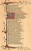 Geoffrey Chaucer (c1345-1401) English poet. Page of the Lansdowne manuscript of his 'Canterbury Tales' relating part of the Friar's Tale.