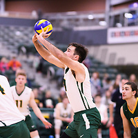 4th year outside hitter Dalton Wolfe (9) of the Regina Cougars in action during Men's Volleyball home game on November 18 at Centre for Kinesiology, Health and Sport. Credit: Arthur Ward/Arthur Images