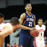 Malcolm Hill #21 of the Illinois Fighting Illini lines up for a free-throw during the NIT First Round game at Agganis Arena on March 19, 2014 in Boston, Massachusetts . (Photo by Elan Kawesch)