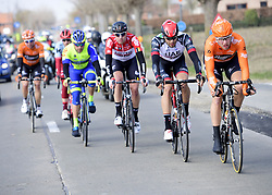 March 25, 2018 - Wevelgem, BELGIQUE - WEVELGEM, BELGIUM - MARCH 25 : FRISON Frederik  (BEL)  of Lotto Soudal, GANNA Filippo  (ITA)  of UAE Team Emirates  during the Flanders Classics 80th Gent - Wevelgem - In Flanders Fields cycling race with start in Deinze and finish in Wevelgem on March 25, 2018 in Wevelgem, Belgium, 25/03/18 (Credit Image: © Panoramic via ZUMA Press)