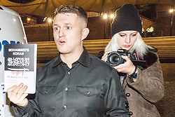 "© Licensed to London News Pictures . FILE PICTURE DATED 03/11/2017 of LUCY BROWN (r) at the launch of TOMMY ROBINSON's (l) book "" Mohammed's Koran "" at the Castlefield Bowl in Manchester . Brown has spoken out about her time as an assistant to Robinson (real name Stephen Yaxley-Lennon ) . Photo credit: Joel Goodman/LNP"