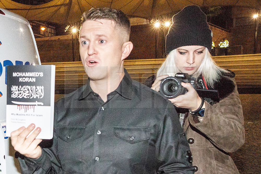 """© Licensed to London News Pictures . FILE PICTURE DATED 03/11/2017 of LUCY BROWN (r) at the launch of TOMMY ROBINSON's (l) book """" Mohammed's Koran """" at the Castlefield Bowl in Manchester . Brown has spoken out about her time as an assistant to Robinson (real name Stephen Yaxley-Lennon ) . Photo credit: Joel Goodman/LNP"""