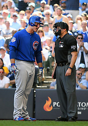 June 13, 2018 - Milwaukee, WI, U.S. - MILWAUKEE, WI - JUNE 13: Chicago Cubs First base Anthony Rizzo (44) argues a called third strike with home plate umpire Jim Reynolds during a MLB game between the Milwaukee Brewers and Chicago Cubs on June 13, 2018 at Miller Park in Milwaukee, WI. The Brewers defeated the Cubs 1-0.(Photo by Nick Wosika/Icon Sportswire) (Credit Image: © Nick Wosika/Icon SMI via ZUMA Press)