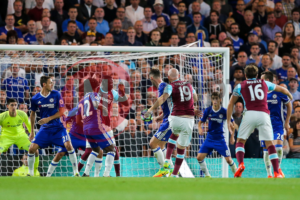 James Collins of West Ham United scores a goal to make it 1-1 - Rogan Thomson/JMP - 15/08/2016 - FOOTBALL - Stamford Bridge Stadium - London, England - Chelsea v West Ham United - Premier League Opening Weekend.