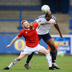TELFORD COPYRIGHT MIKE SHERIDAN 9/3/2019 - Theo Streete of AFC Telford battles for the ball with Jack Banister during the National League North fixture between AFC Telford United and FC United of Manchester (FCUM) at the New Bucks Head Stadium