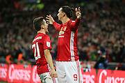 Ander Herrera Midfielder of Manchester United congratulates Zlatan Ibrahimovic Forward of Manchester United for his goal 3-2 during the EFL Cup Final between Manchester United and Southampton at Wembley Stadium, London, England on 26 February 2017. Photo by Phil Duncan.