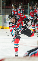 KELOWNA, CANADA - OCTOBER 10: Myles Bell #29 of the Kelowna Rockets warms up on the ice as the Spokane Chiefs visit the Kelowna Rockets on October 10, 2012 at Prospera Place in Kelowna, British Columbia, Canada (Photo by Marissa Baecker/Shoot the Breeze) *** Local Caption ***