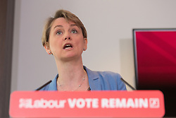 © Licensed to London News Pictures. 10/06/2016. LONDON, UK.  YVETTE COOPER makes a speech detailing an analysis of how a Conservative Brexit Budget would look if the UK were to vote to leave the European Union (EU) in a referendum. The Labour Party analysis warns of the implications a Brexit Budget would have on public services and family finances, including the introduction of more than £18bn in social security cuts and tax rises.  Photo credit: Vickie Flores/LNP