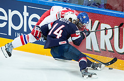 Jan Kolar of Czech Republic vs Steve Moses of USA during Ice Hockey match between USA and Czech Republic at Third place game of 2015 IIHF World Championship, on May 17, 2015 in O2 Arena, Prague, Czech Republic. Photo by Vid Ponikvar / Sportida