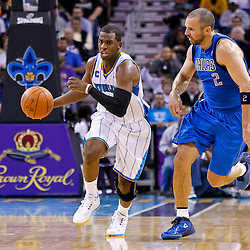 November 17, 2010; New Orleans, LA, USA; New Orleans Hornets point guard Chris Paul (3) drives past Dallas Mavericks point guard Jason Kidd (2) during the second half against the Dallas Mavericks at the New Orleans Arena. The Hornets defeated the Mavericks 99-97. Mandatory Credit: Derick E. Hingle