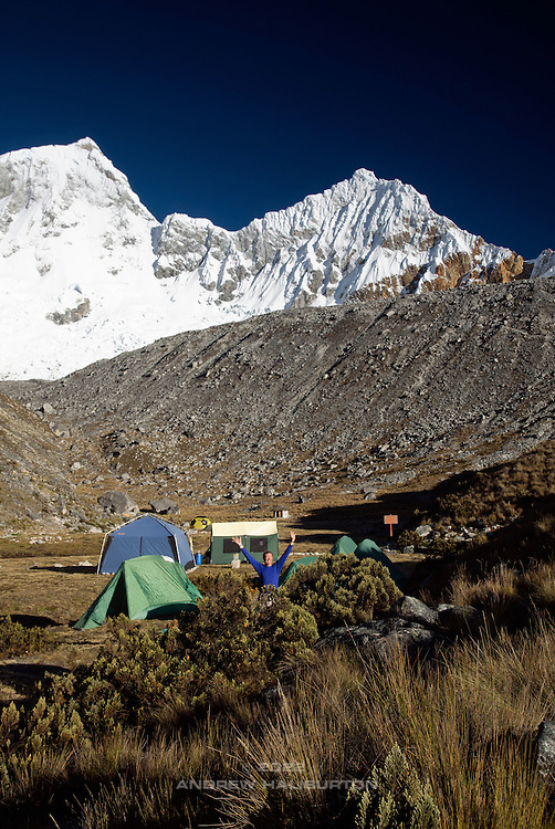 Pisco Base Camp 4,700m below the summits of Huandoy Norte (North) 6,395m (left) and Huandoy Este (East) 6,068m (right). Huascarán National Park, Cordillera Blanca, Peru.  Nikon D200, 17-50/2.8.