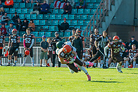 KELOWNA, CANADA - OCTOBER 21: Receiver Adam Burton #89 of the Okanagan Sun is tackled by running back Keegan Vicklund #11 of the Chilliwack Huskers during BCFC semi-final play on Sunday, October 21, 2018, at the Apple Bowl, in Kelowna, British Columbia, Canada.  (Photo by Marissa Baecker/Shoot the Breeze)  *** Local Caption ***