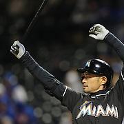 NEW YORK, NEW YORK - APRIL 12: Ichiro Suzuki, Miami Marlins, batting during the Miami Marlins Vs New York Mets MLB regular season ball game at Citi Field on April 12, 2016 in New York City. (Photo by Tim Clayton/Corbis via Getty Images)