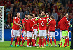 LILLE, FRANCE - Friday, July 1, 2016: Wales players celebrate with masseur Chris Senior after a 3-1 victory over Belgium and reaching the Semi-Final during the UEFA Euro 2016 Championship Quarter-Final match at the Stade Pierre Mauroy. James Collins, Joe Ledley, goalkeeper Wayne Hennessey. (Pic by David Rawcliffe/Propaganda)