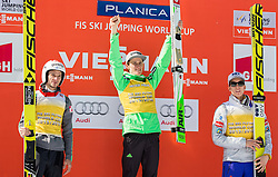 Second placed in FIS Ski Flying World Cup classification Robert Kranjec (SLO),  winner Peter Prevc (SLO) and third placed Johann Andre Forfang (NOR) celebrate during trophy ceremony after the Ski Flying Hill Individual Competition at Day 4 of FIS Ski Jumping World Cup Final 2016, on March 20, 2016 in Planica, Slovenia. Photo by Vid Ponikvar / Sportida