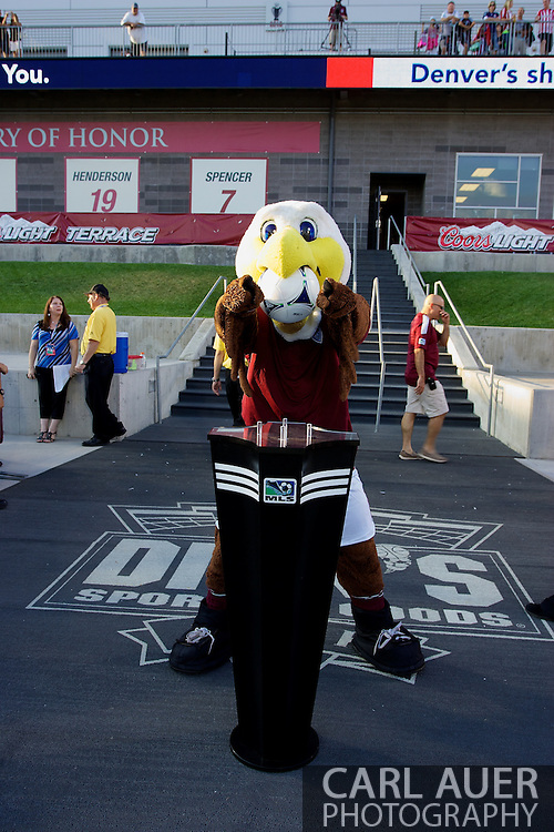 August 18th, 2012: Edson the Eagle paces the game ball on the ball stand prior to the start if the Colorado Rapids and Chivas USA soccer game at Dick's Sporting Goods Park in Commerce City, Colorado just outside of Denver