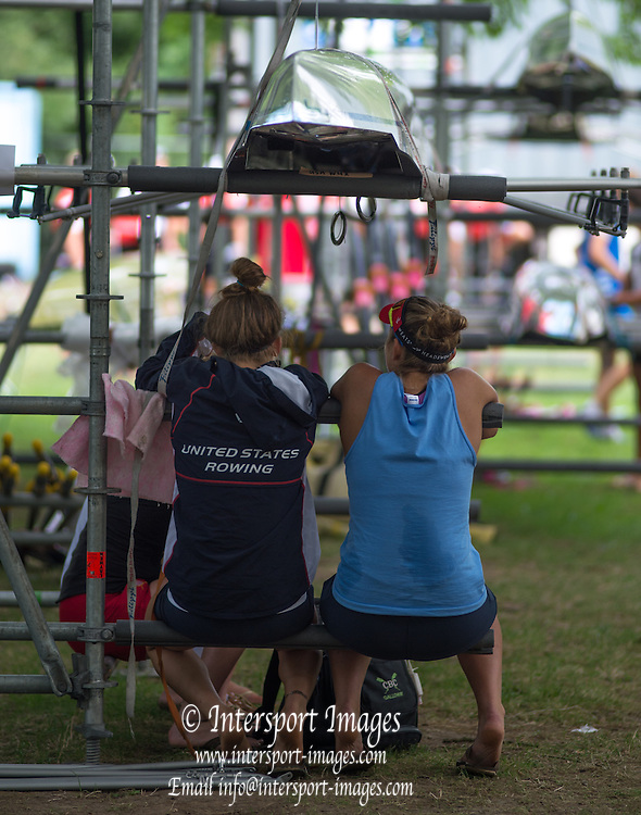 Hamburg. GERMANY. USA JW. sitting on the boat rack at the FISA Junior World Championships.  09:37:10  Tuesday  05/08/2014  [Mandatory Credit; Peter Spurrier/Intersport-images]