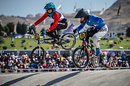 15 Boys #159 (PIECZANOWSKY Alexis) FRA and 15 Boys #170 (CANTIERO Leonardo) ITA at the 2018 UCI BMX World Championships in Baku, Azerbaijan.