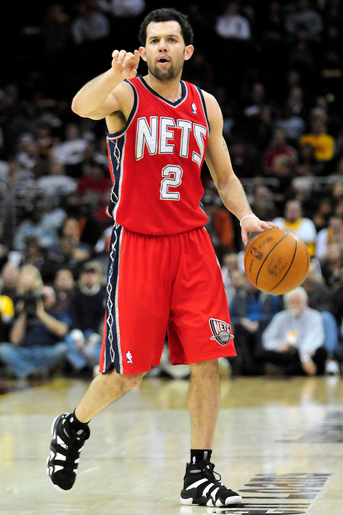 March 23, 2010; Cleveland, OH, USA; New Jersey Nets point guard Jordan Farmar (2) calls a play as he makes his way down court during the third quarter against the Cleveland Cavaliers at Quicken Loans Arena. The Nets beat the Cavaliers 98-94 in overtime. Mandatory Credit: Jason Miller-US PRESSWIRE