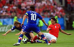 Luka Modric of Croatia (L), Niko Kovac of Croatia and Ronald Linz of Austria during the UEFA EURO 2008 Group B soccer match between Austria and Croatia at Ernst-Happel Stadium, on June 8,2008, in Vienna, Austria.  (Photo by Vid Ponikvar / Sportal Images)