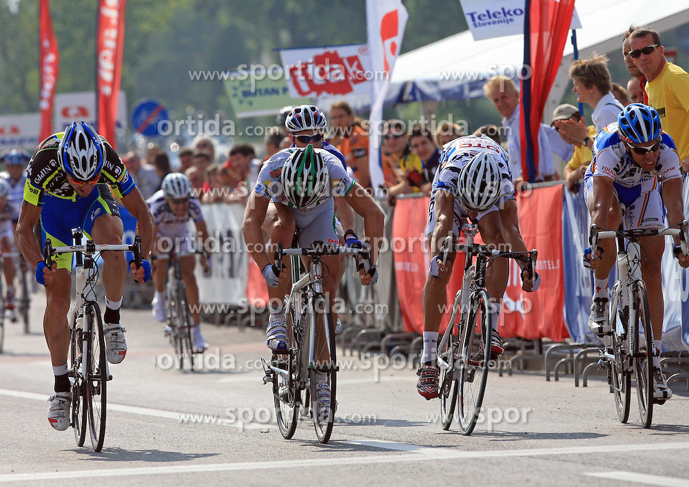 Simone Cadamuro of Italy  (Nippo Endeka) - 3rd place, winner Claudio Cucinotta of Italy (LPR Brakes), second placed Enrico Rossi of Italia (NGC Medical - OTC Indutria Porte) and fourth placed Danilo Hondo of Germany (Serramenti PVC Diqugiovanni -Androni Giocattoli) at final sprint at 1st stage of the 15th Tour de Slovenie from Ljubljana to Postojna (161 km) , on June 11,2008, Slovenia. (Photo by Vid Ponikvar / Sportal Images)/ Sportida)