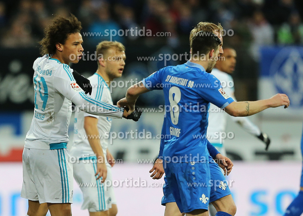 30.01.2016, Merck Stadion am Boellenfalltor, Darmstadt, GER, 1. FBL, SV Darmstadt 98 vs Schalke 04, 19. Runde, im Bild vl. Zweikampf, Leroy Sane (FC Schalke 04) Jerome Gondorf (SV Darmstadt 98) // during the German Bundesliga 19th round match between SV Darmstadt 98 and Schalke 04 at the Merck Stadion am Boellenfalltor in Darmstadt, Germany on 2016/01/30. EXPA Pictures &copy; 2016, PhotoCredit: EXPA/ Eibner-Pressefoto/ Voelker<br /> <br /> *****ATTENTION - OUT of GER*****
