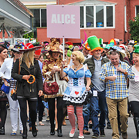 REPRO FREE<br /> Pictured at the Mad Hatter's Taste of Kinsale this weekend during the 39th Kinsale Gourmet Festival is 'Alice' Maria O'Mahony leading some of the 600 plus people to the four venues in the town.<br /> Picture. John Allen<br /> <br /> KINSALE GOURMET FESTIVAL PRESENTS:<br /> A WEEKEND OF FINE FOOD AND WINE IN A FUN ATMOSPHERE<br /> The 39th Kinsale Gourmet Festival takes place from 9-11 October 2015, promising a weekend of fine food and wine in a fun atmosphere.  The Festival is hosted by Kinsale's eleven Good Food Circle restaurants, which go to great lengths to display the talent of their chefs, and their beautifully presented food. The emphasis is on locally-sourced ingredients from sea and land, accompanied by carefully selected wines. The United States Ambassador to Ireland, Kevin O'Malley, will be a guest in Kinsale for Friday and Saturday's Good Food Circle events. Kinsale Gourmet Festival has many regular visitors from overseas, including the United States and Canada. There are still some tickets left for Friday evening's opening event, a champagne reception, courtesy of Laurent Perrier, and a 5-course 'Taste of West Cork' dinner in a Good Food Circle restaurant of your choice.  Meanwhile, everyone is welcome to the 'Cork Heat' of the All-Ireland Chowder Cook-Off on Friday afternoon, sponsored by Clóna.<br /> Acton's Hotel is the venue for the Cork Heat of the All-Ireland Chowder-Cook off  at 3pm on Friday 9 October.  The €5 admission fee includes the chance to win a €100 gift voucher from the Kinsale Good Food Circle, as well as a tasting sample of each chef's chowder, and free samples from specialised local brewers of craft beers and cider makers.  Some outstanding chefs are expected to compete, including the very popular winner of last year's Cork Heat, The Cornstore.  An entertaining afternoon is guaranteed, as the chefs display their skills with seafood, sharing their secret ingredients, as they compete to produce the tastiest chowder.  The winning chef will represen