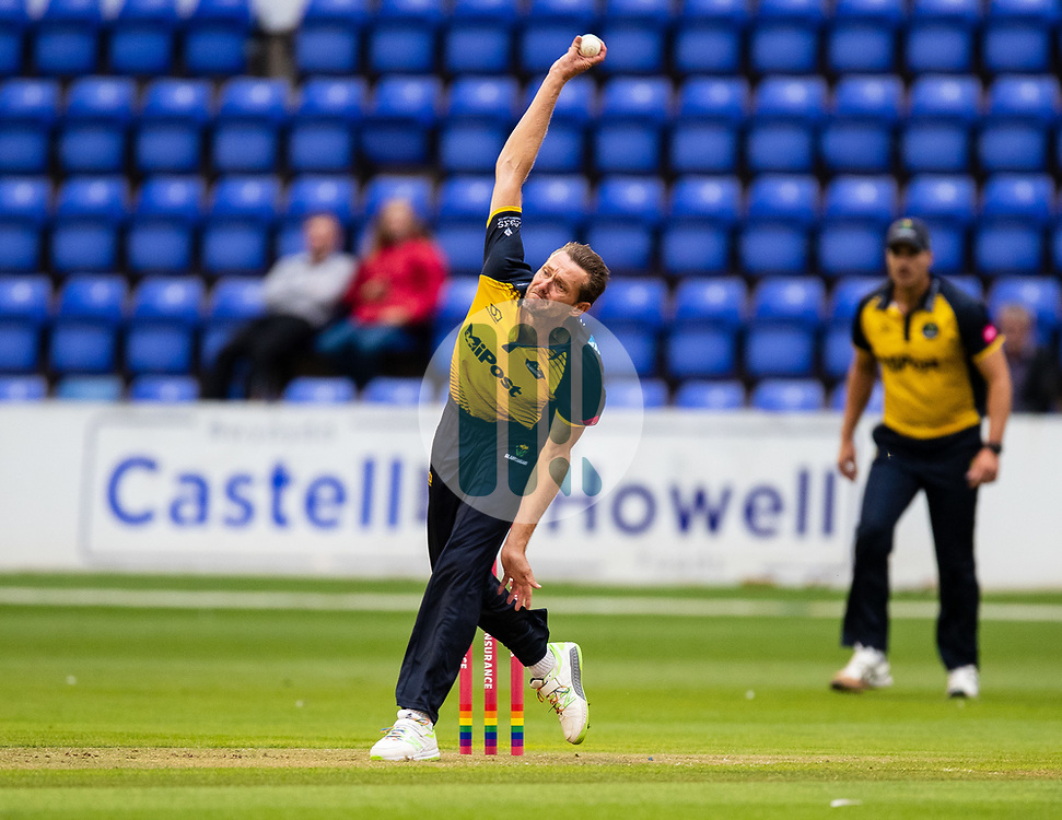 Michael Hogan of Glamorgan in action today <br /> <br /> Photographer Simon King/Replay Images<br /> <br /> Vitality Blast T20 - Round 8 - Glamorgan v Essex - Friday 9th August 2019 - Sophia Gardens - Cardiff<br /> <br /> World Copyright © Replay Images . All rights reserved. info@replayimages.co.uk - http://replayimages.co.uk