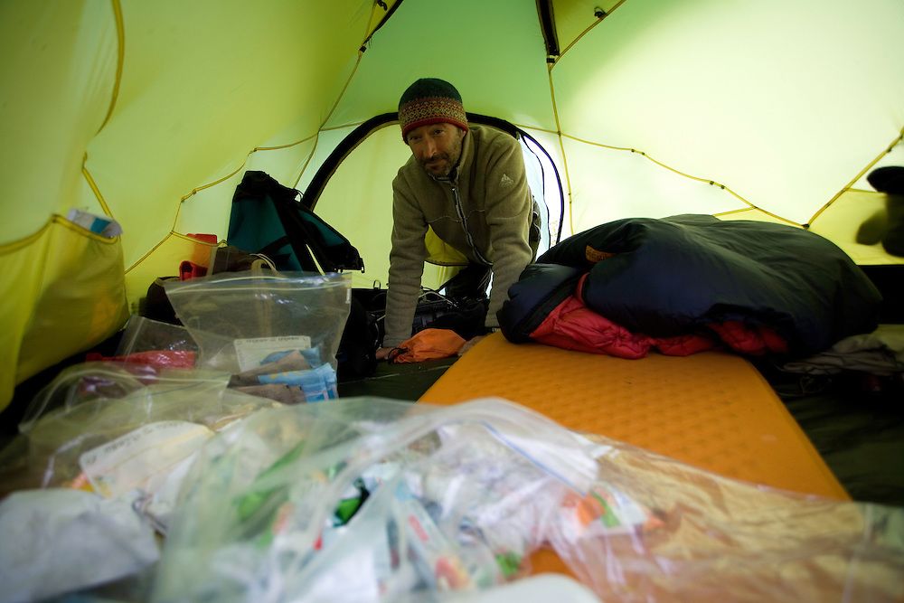 Cameraman Florian Leo inside his tent, Sarek National Park, Laponia World Heritage Site, Sweden