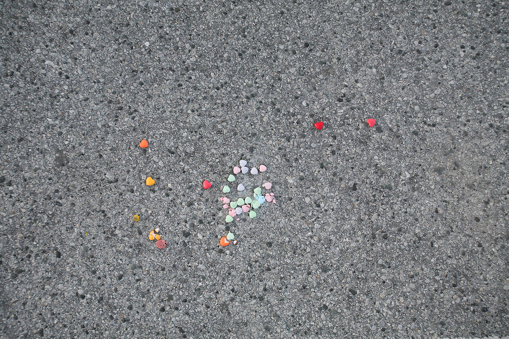 2.22.09 - Scenes from the beach, candy hearts left on cement in parking lot  NC. PHOTO BY LOGAN MOCK-BUNTING
