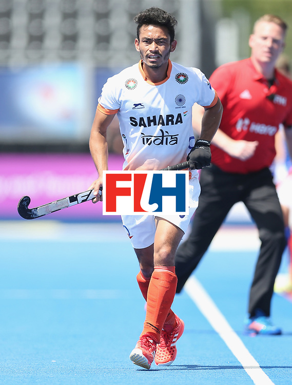 LONDON, ENGLAND - JUNE 15:  Kothajit Khadangbam of India  during the Hero Hockey World League Semi Final match between India and Scotland at Lee Valley Hockey and Tennis Centre on June 15, 2017 in London, England.  (Photo by Alex Morton/Getty Images)