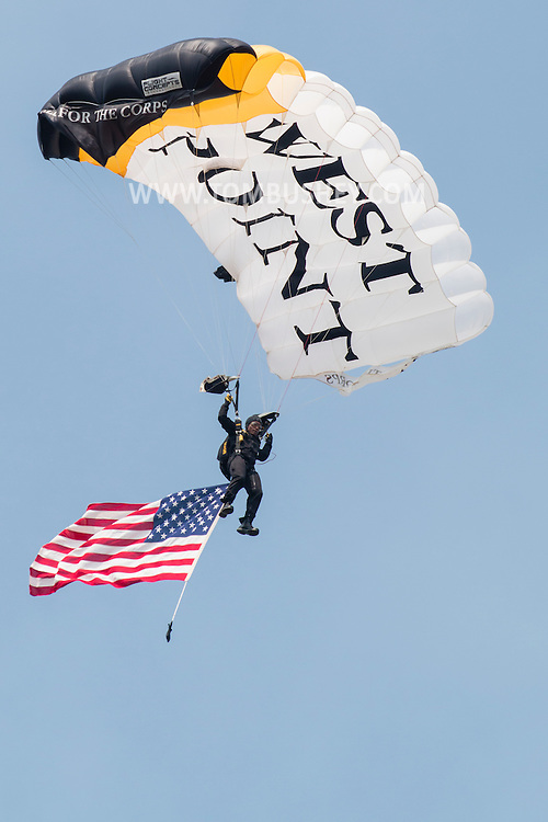 New Windsor, New York - The Black Knights West Point Parachute Team performs at the New York Air Show at Stewart International Airport on Aug. 29, 2015. The all-cadet team provides freefall demonstrations in support of Army athletics and also performs in competitions.