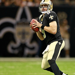August 25, 2012; New Orleans, LA, USA; New Orleans Saints quarterback Drew Brees (9) against the Houston Texans during the first half of a preseason game at the Mercedes-Benz Superdome. Mandatory Credit: Derick E. Hingle-US PRESSWIRE