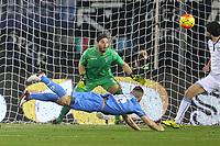"""Il gol dell'1-0 di Leonardo Tonelli Empoli<br /> Goal Celebration Empoli<br /> Empoli 29-11-2015 Stadio """"Carlo Castellani""""<br /> Football Calcio 2015/2016 Serie A TIM <br /> Empoli-Lazio<br /> Foto Luca Pagliaricci / Insidefoto"""