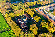 Nederland, Drenthe, Gemeente Noordenveld, 04-11-2018; gevangenisdorp Veenhuizen, gesticht door de Maatschappij van Weldadigheid voor bedelaars en landlopers.<br /> Esserheem, Huis van Bewaring voor vreemdelingen in strafrecht. Onderdeel van Penitentiaire Inrichting (PI) Veenhuizen. <br /> Veenhuizen prison village, founded in 1823 by the Benevolent Society for the rehabilitation of beggars and vagrants.<br /> Esserheem, detention center for foreigners. Part of Penitentiary Institute (PI) Veenhuizen.<br /> luchtfoto (toeslag op standard tarieven)<br /> aerial photo (additional fee required)<br /> copyright foto/photo Siebe Swart