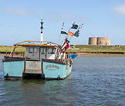 Lady Florence boat trip cruise River Ore, Orford Ness, Suffolk, England - small fishing boat by Martello Tower CC (No. 1) at Slaughden