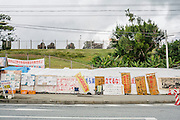 Gate-Mae, one of the protest sites, these make-shift tents are opposite the U.S. Marines' Camp Schwab. This protest started in July, 2014 with the aim of stopping the construction trucks from entering in to Camp Schwab. Since then protesters have been monitoring vehicles bringing in materials and equipment for construction around the clock. Henoko, Okinawa, Japan.