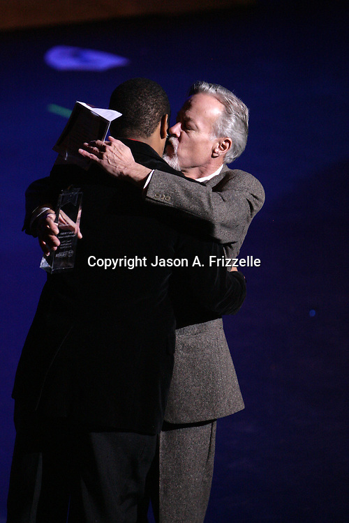 Tracy Byrd is presented with the award for Best Choreography by Tom Briggs at the Wilmington Theater Awards at Thursday January 23, 2014 at Thalian Hall. (Jason A. Frizzelle)