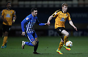 Bradley Halliday of Cambridge United and Nathan Thomas of Hartlepool United in action during the EFL Sky Bet League 2 match between Cambridge United and Hartlepool United at the Cambs Glass Stadium, Cambridge, England on 14 March 2017. Photo by Harry Hubbard.