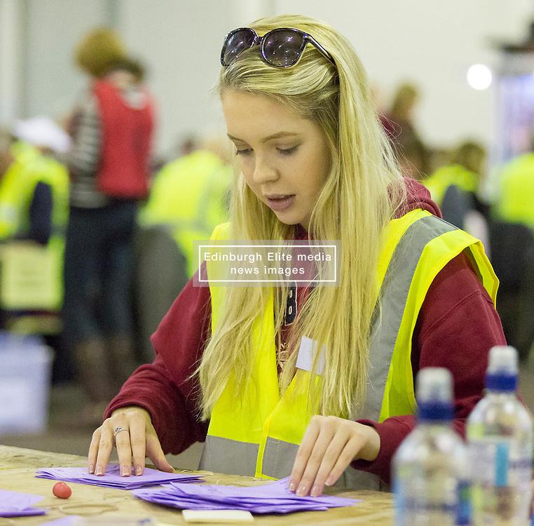 Scottish Parliament Election 2016 Royal Highland Centre Ingliston Edinburgh 05 May 2016; the postal ballot boxes are opened and counting begins during the Scottish Parliament Election 2016, Royal Highland Centre, Ingliston Edinburgh.<br /> <br /> (c) Chris McCluskie | Edinburgh Elite media