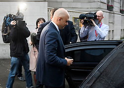 © Licensed to London News Pictures. 19/12/2018. London, UK. Home Secretary SAJID JAVID is seen leaving Milbank Studios in London following a BBC radio interview. The Home Secretary will publish a government White Paper on a post Brexit immigration plan.. Photo credit: Ben Cawthra/LNP