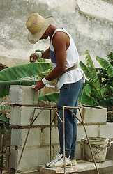 Builder cementing breeze block wall at Gibara; Cuba,