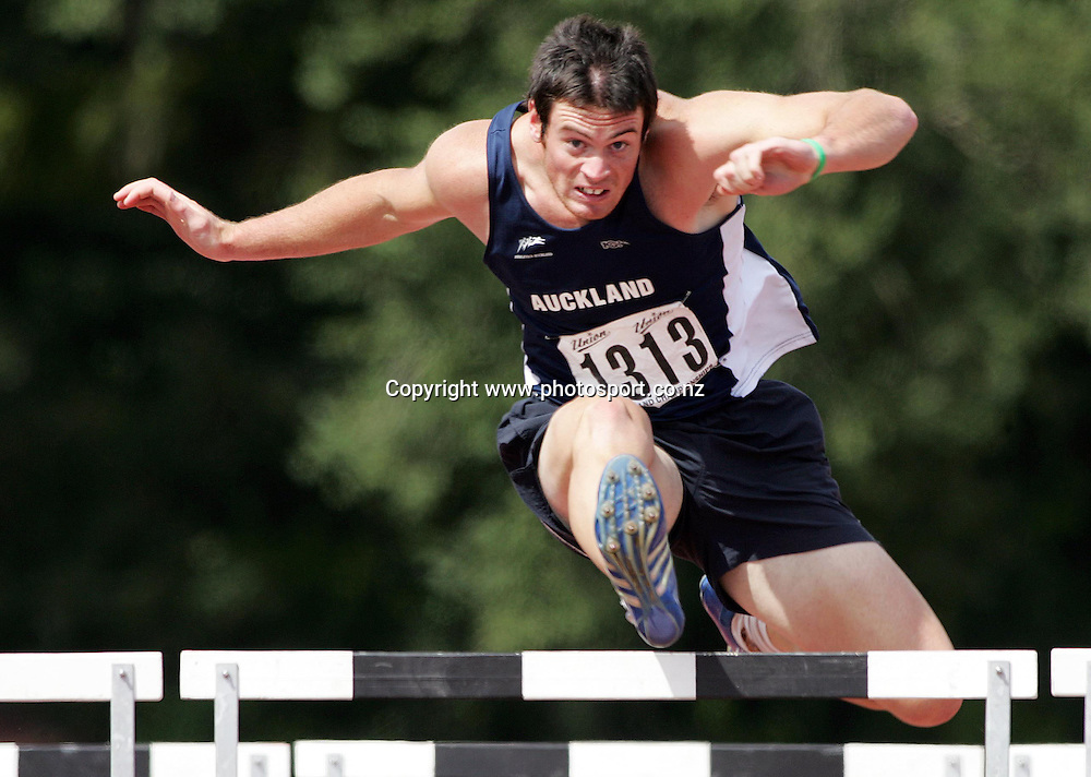 Stephen Buckley (Auckland) competes in the Men's U19 110m hurdles at the 2007 Union Athletics New Zealand Track &amp; Field Championships at TET Stadium, Inglewood, New Zealand on Saturday 3 March 2007. Photo: Hannah Johnston/PHOTOSPORT<br /> <br /> <br /> <br /> 030307