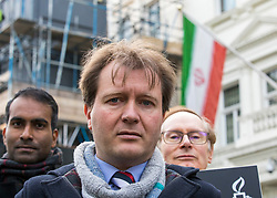 © Licensed to London News Pictures. 21/02/2018. London, UK. Richard Ratcliffe (centre), husband of Nazanin Zaghari-Ratcliffe, outside the Iranian Embassy in London, ahead of an expected visit by a senior Iranian minister. British-Iranian Nazanin Zaghari-Ratcliffe has been detained in Iran since April 2016. Photo credit: Rob Pinney/LNP
